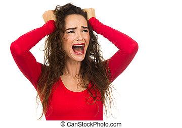 femme, elle, très, bruyant, fâché, désordre, isolé, frustré, traction, white., hair., crier, dehors