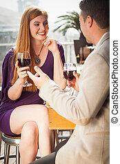 femme, elle, verre, sourire, vin, avoir, petit ami