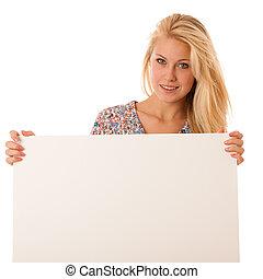 femme, elle, vide, nde, planche, tenant mains, blanc, promotion
