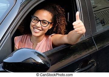 femme, elle, voiture, jeune, assis, nouveau, heureux