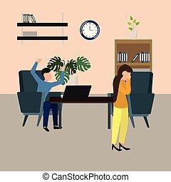 femme, elle., work., illustration, fâché, isolé, patron, characters., vecteur, cris, désespoir, pression, pleurer