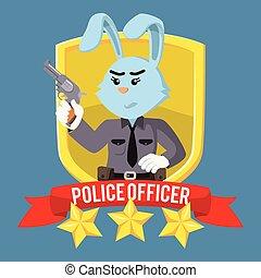 femme, emblème, bouclier, officier, lapin, police