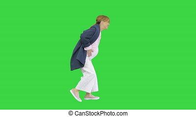 femme enceinte, key., chroma, marche, a, vert, dû, écran, ...