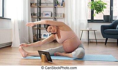 femme enceinte, maison, tablette, sports, pc