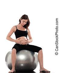 femme enceinte, relâcher, asseoir, sur, boule aptitude
