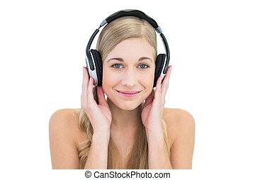 femme, enchanté, jeune, musique écouter, blond
