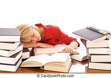 femme, endormi, sur, livres