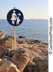 femme enfant, -, plage, sentier, signe