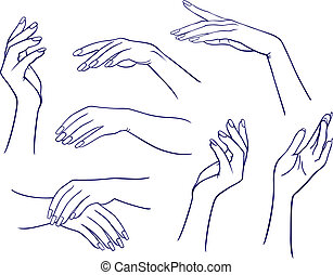 femme, ensemble, mains