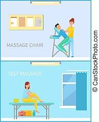 femme, ensemble, soi, vecteur, chaise, masser, masage
