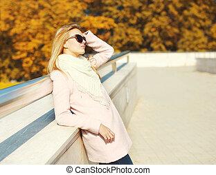 femme, ensoleillé, jeune, automne, chaud, joli, portrait, jour