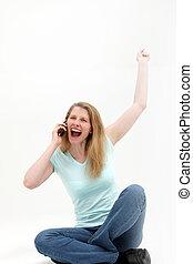 femme, entend, sur, téléphone, bonnes nouvelles