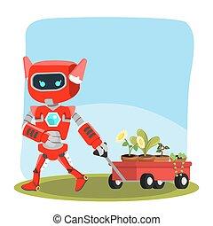 femme, entiers, traction, robot, charrette