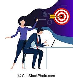 femme, envision, reussite, travail, collègue, laptop., business, future., équipe, réaliser, cible