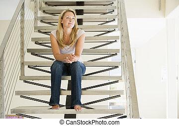 femme, escalier, séance