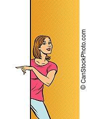 femme, espace, affiche, points, publicité, girl, copie