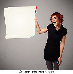 femme, espace, jeune, papier, tenue, origami, blanc, copie