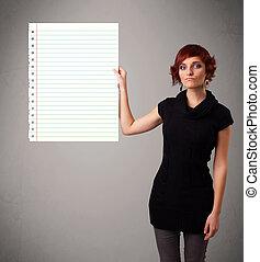 femme, espace, lignes, diagonal, jeune, papier, tenue, blanc, copie