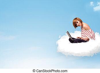 femme, espace, ordinateur portable, séance, jeune, copie, nuage
