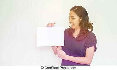 femme, espace, signe, asiatique, tenue, blanc, copie, désinvolte