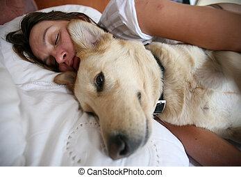 femme, et, chien, et, lit