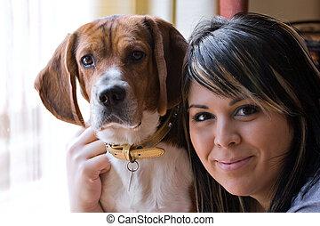 femme, et, elle, chien