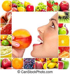 femme, et, fruits