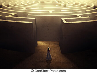 femme, et, labyrinthe