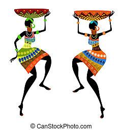 femme, ethnique, vase