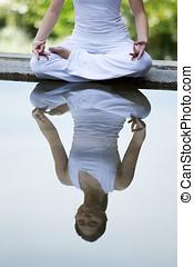 femme, exécuter, yoga