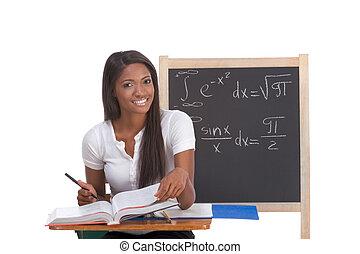 femme, examen, étudier, étudiant université, noir, math