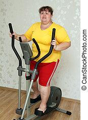 femme, excès poids, entraîneur, exercisme