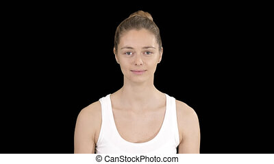 femme, exercice, jeune, respiration, canal alpha