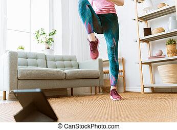 femme, exercices, maison