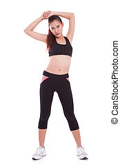 femme, exercise., étirage