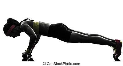 femme, exercisme, augmente, séance entraînement, poussée, fitness, silhouette