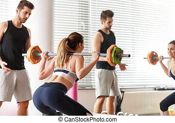 femme, exercisme, barre disques