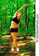 femme, exercisme, blond