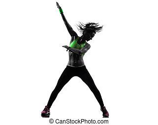 femme, exercisme, fitness, zumba, danse, silhouette