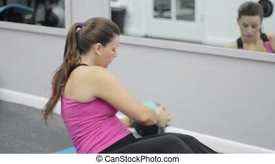 femme, exercisme, vêtements de sport