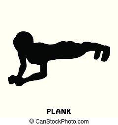 femme, exersice., ups., silhouettes, séance entraînement, poussée, training., sport, exercise.