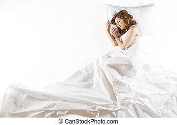 femme, expressif, dormir