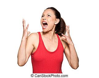femme, expressif, fâché, haut, regarder, portrait, crier