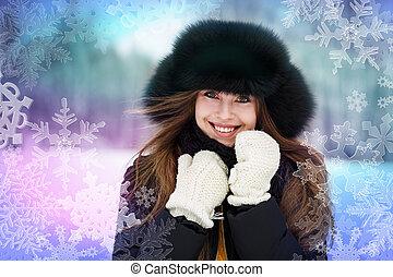 femme, extérieur, hiver