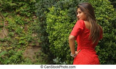 femme, extérieur, photographie, poser