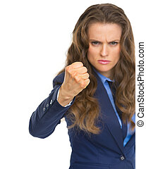 femme fâchée, menacer, poing, business