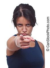 femme fâchée, vous, pointage