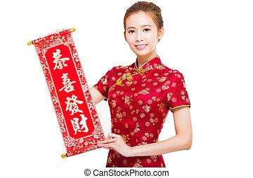 femme, félicitation, chinois, reel., tenue, année, nouveau, heureux