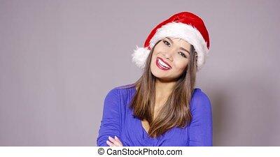 femme, fête, claus, santa chapeau, rouges, heureux