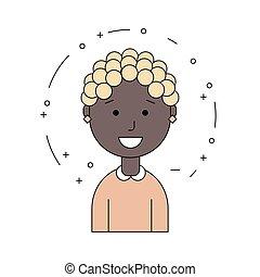 femme, face., avatar., girl., américain, noir, africaine